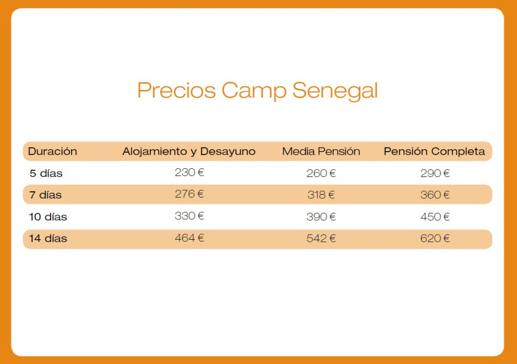 precios camp senegal