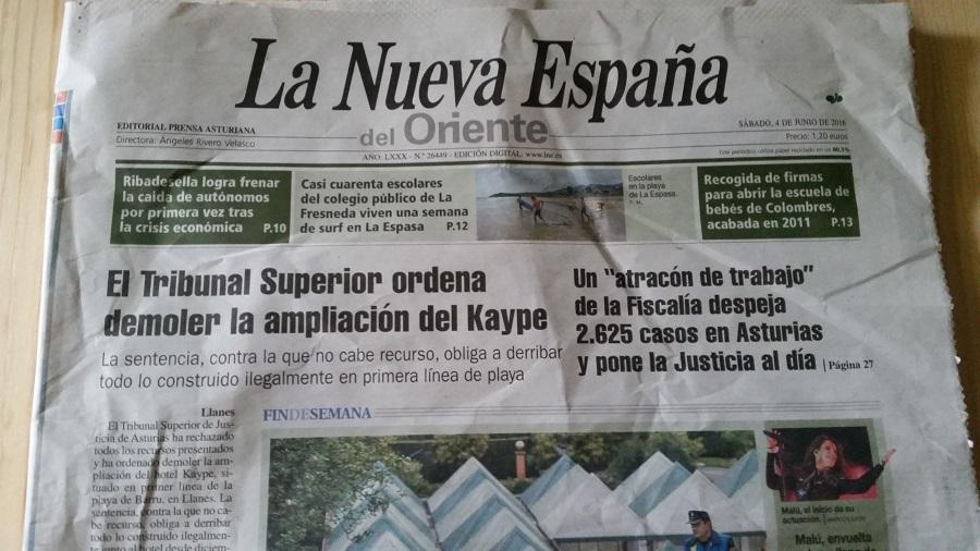 Portada de La Nueva España